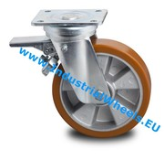 Swivel caster with brake, Ø 200mm, Vulcanized Polyurethane tread, 800KG