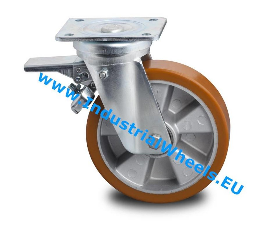 Heavy duty Swivel caster with brake from pressed steel, plate fitting, Vulcanized Polyurethane tread, precision ball bearing, Wheel-Ø 200mm, 800KG