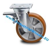 Swivel caster with brake, Ø 160mm, Vulcanized Polyurethane tread, 600KG