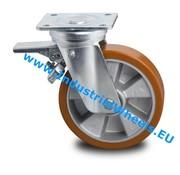 Roda giratória travão, Ø 160mm, poliuretano fundido, 600KG
