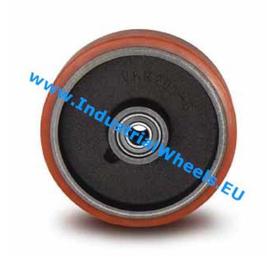 Industrial Wheel from Vulcanized Polyurethane tread, precision ball bearing, Wheel-Ø 125mm, 400KG