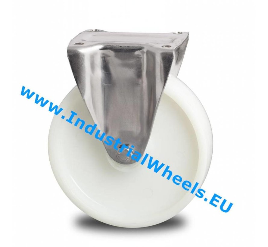 Stainless Steel Fixed caster from Stainless Steel Pressed, plate fitting, Polyamide wheel, roller bearing Stainless Steel, Wheel-Ø 150mm, 500KG