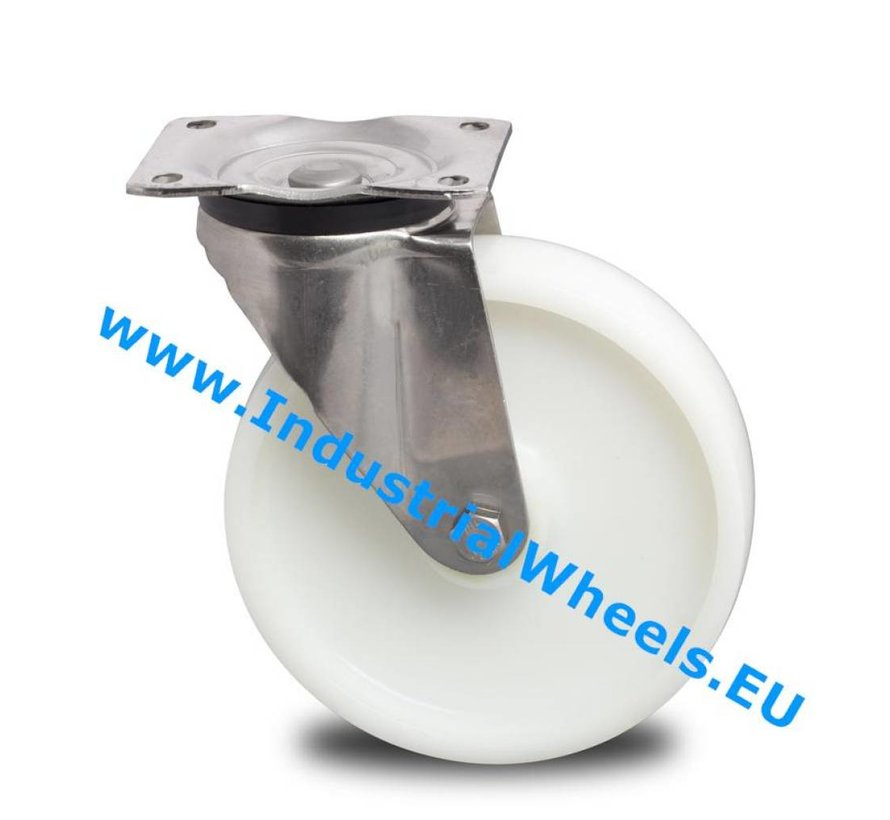 Stainless Steel Swivel caster from Stainless Steel Pressed, plate fitting, Polyamide wheel, plain bearing, Wheel-Ø 150mm, 500KG