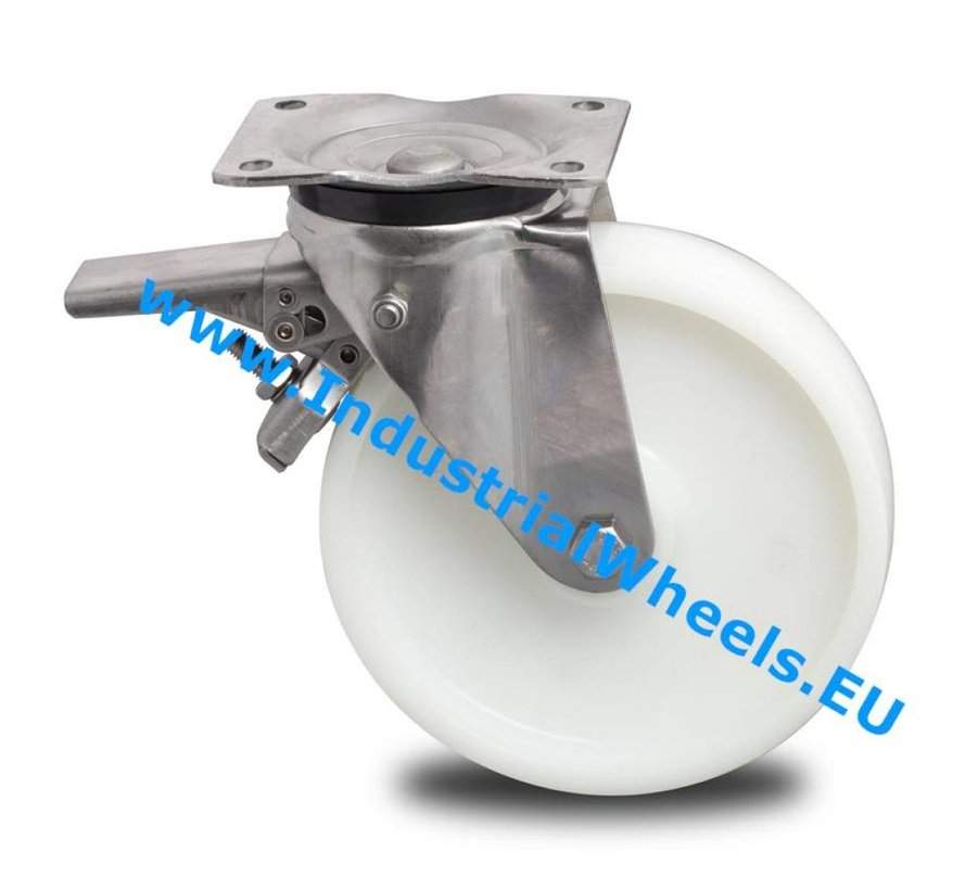 Stainless Steel Swivel caster with brake from Stainless Steel Pressed, plate fitting, Polyamide wheel, roller bearing Stainless Steel, Wheel-Ø 150mm, 500KG