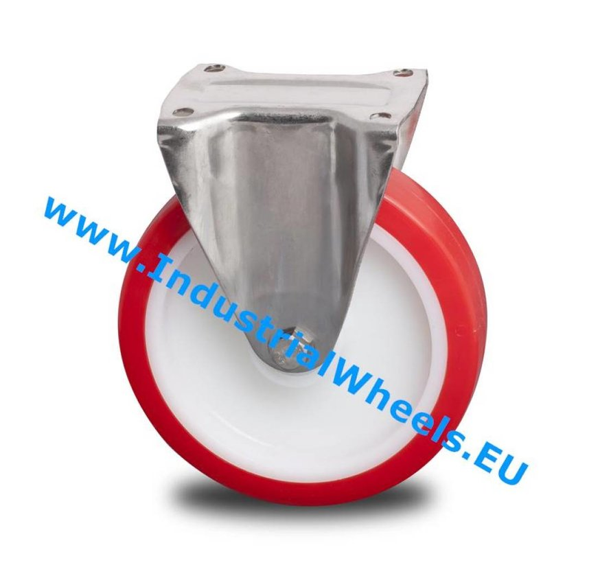 Stainless Steel Fixed caster from Stainless Steel Pressed, plate fitting, Injected polyurethane, roller bearing Stainless Steel, Wheel-Ø 125mm, 300KG