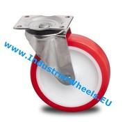Drejeligt hjul, Ø 125mm, Polyuretan, 300KG