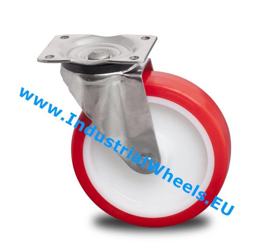Stainless Steel Swivel caster from Stainless Steel Pressed, plate fitting, Injected polyurethane, plain bearing, Wheel-Ø 200mm, 500KG