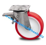Roda giratória travão, Ø 125mm, poliuretano injetado, 300KG