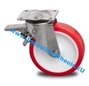 Swivel caster with brake, Ø 200mm, Injected polyurethane, 500KG