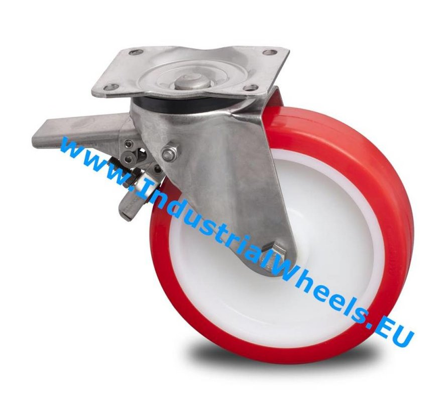 Stainless Steel Swivel caster with brake from Stainless Steel Pressed, plate fitting, Injected polyurethane, roller bearing Stainless Steel, Wheel-Ø 200mm, 500KG