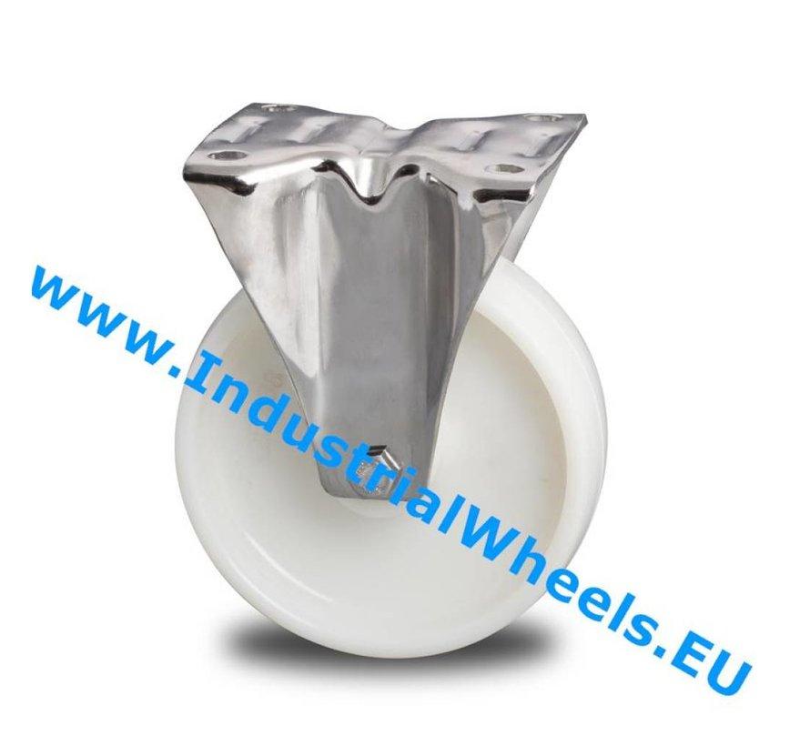 Inox / acero inoxidable Ruota fissa acciaio inox stampata, attacco a piastra, Ruota Poliammide, mozzo a foro passante, Ruota -Ø 100mm, 150KG
