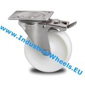 Swivel caster with brake, Ø 125mm, Polyamide wheel, 200KG