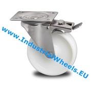 Drejeligt hjul bremse, Ø 125mm, PolyamidHjul, 200KG