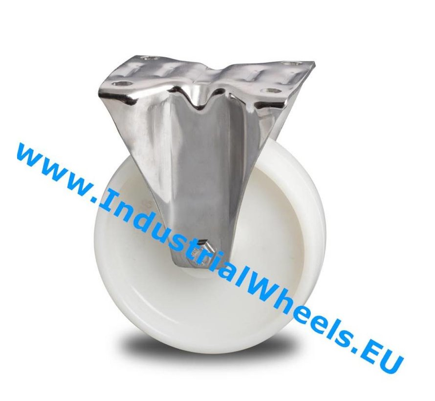 Stainless Steel Fixed caster from Stainless Steel Pressed, plate fitting, Polyamide wheel, plain bearing, Wheel-Ø 200mm, 300KG