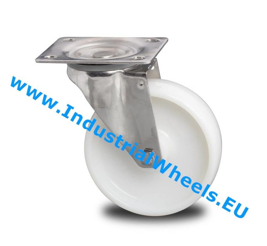 Stainless Steel Swivel caster from Stainless Steel Pressed, plate fitting, Polyamide wheel, roller bearing Stainless Steel, Wheel-Ø 200mm, 300KG