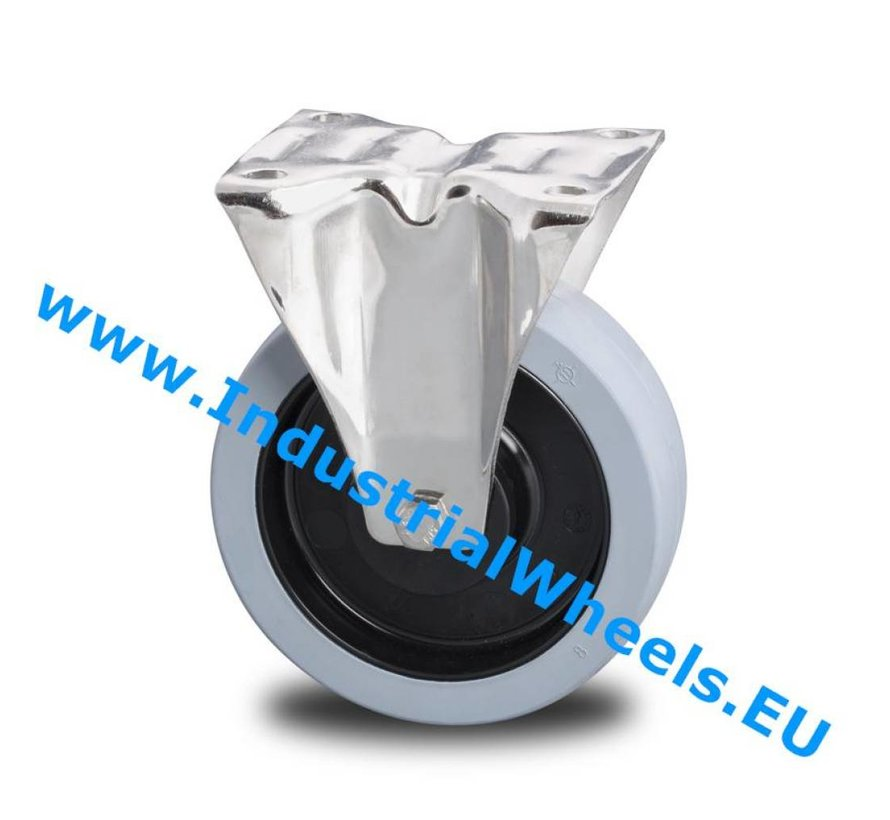 Stainless Steel Fixed caster from Stainless Steel Pressed, plate fitting, Vulcanized elastic rubber tires, 2-RS precision ball bearings, Wheel-Ø 125mm, 200KG