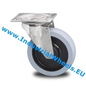 Drejeligt hjul, Ø 125mm, Vulkaniseret gummi elastisk dæk, 200KG