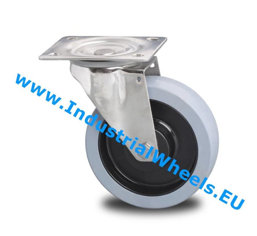 Stainless Steel Swivel caster from Stainless Steel Pressed, plate fitting, Vulcanized elastic rubber tires, 2-RS precision ball bearings, Wheel-Ø 125mm, 200KG