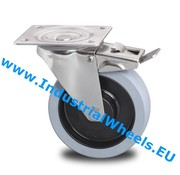 Swivel caster with brake, Ø 100mm, Vulcanized elastic rubber tires, 150KG