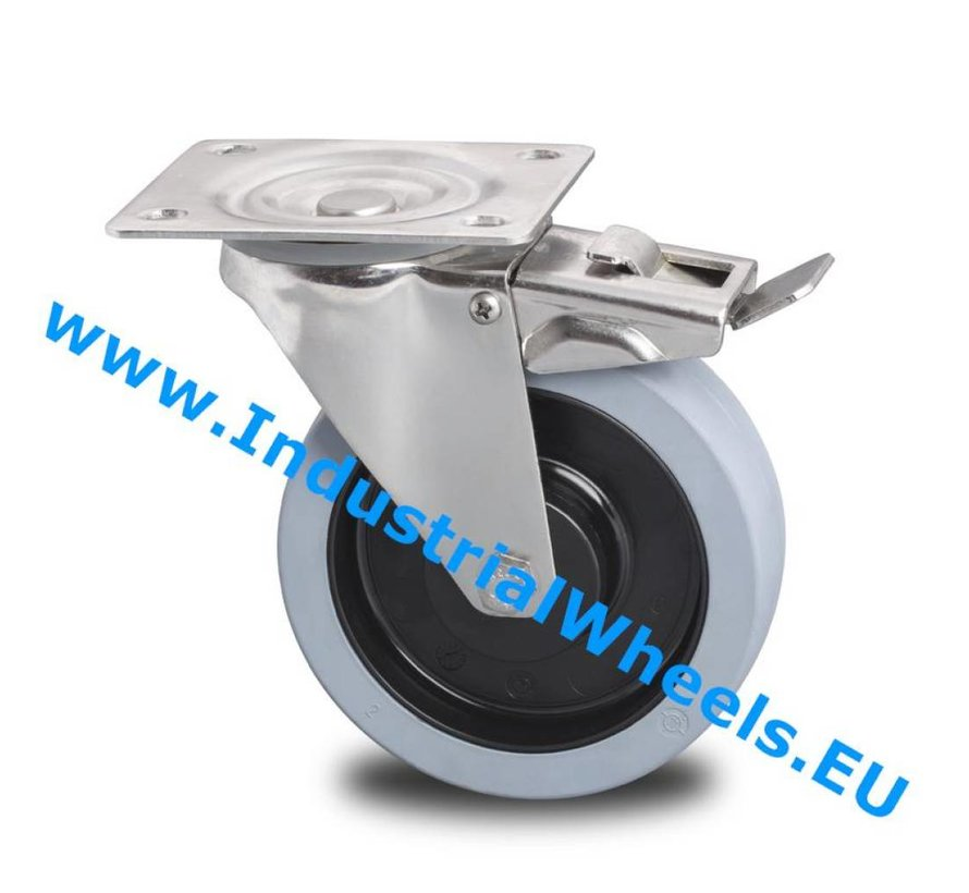 Inox / acero inoxidable Ruota girevole con freno acciaio inox stampata, attacco a piastra, gomma vulcanizzata elastica, 2-RS mozzo su cuscinetto, Ruota -Ø 100mm, 150KG