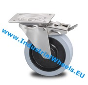 Swivel caster with brake, Ø 125mm, Vulcanized elastic rubber tires, 200KG