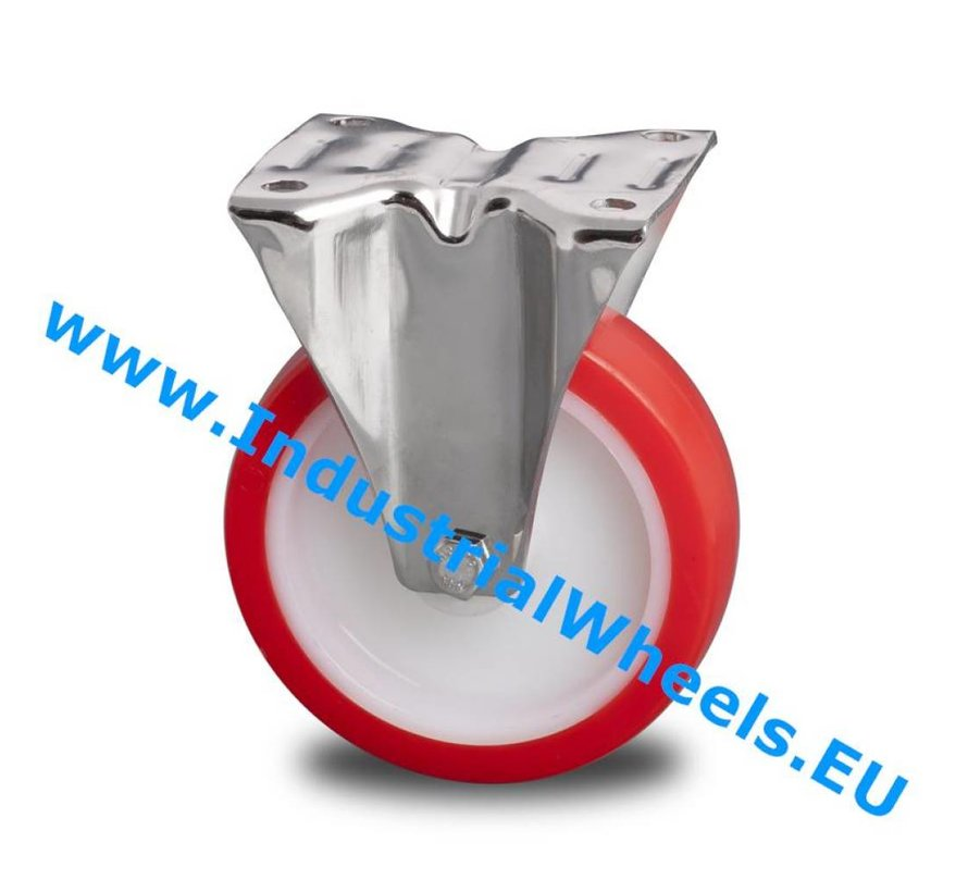 Edelstahl Bockrolle aus Edelstahl / rostfrei blech, Plattenbefestigung, gespritztem Polyurethan, Gleitlager, Rad-Ø 125mm, 180KG