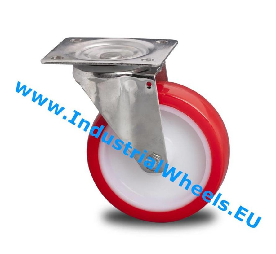Stainless Steel Swivel caster from Stainless Steel Pressed, plate fitting, Injected polyurethane, plain bearing, Wheel-Ø 125mm, 180KG