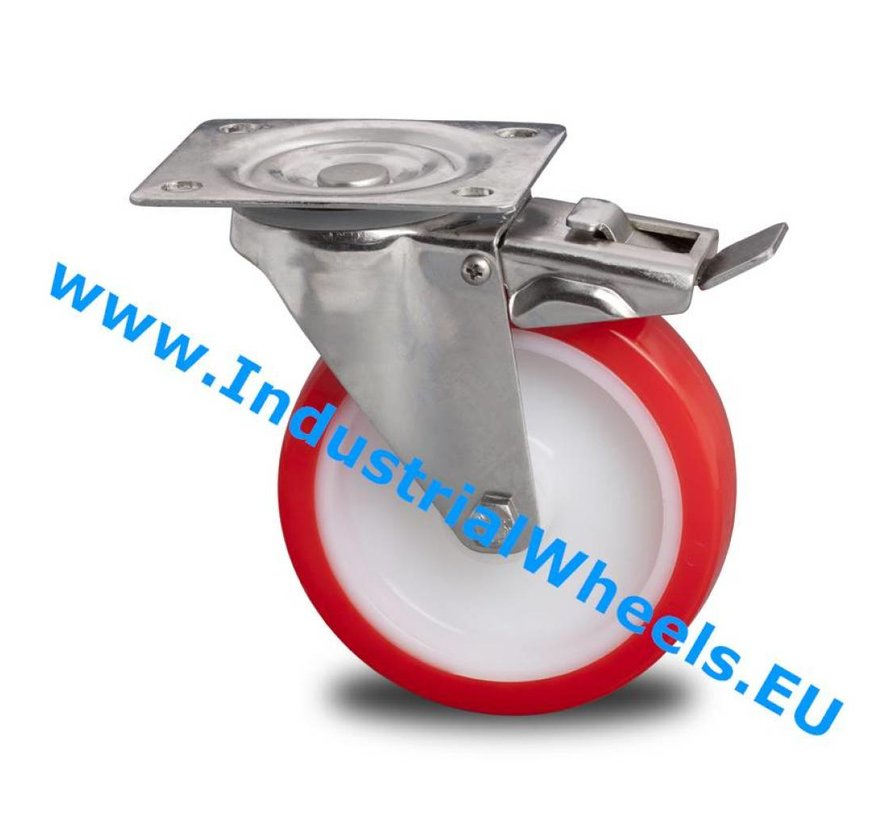 Inox / acero inoxidable Ruota girevole con freno acciaio inox stampata, attacco a piastra, poliuretano iniettato, mozzo a foro passante, Ruota -Ø 150mm, 280KG