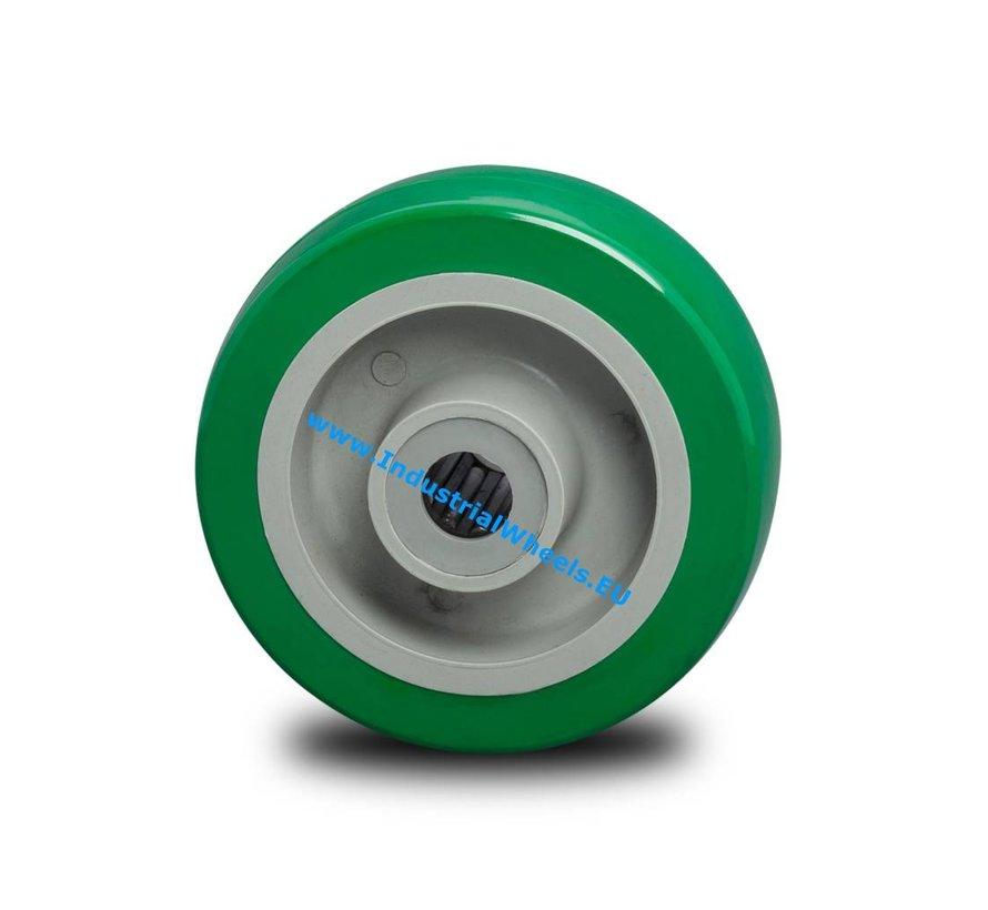 Carrelli per Movimentazione Industriale Ruota  poliuretano iniettato, mozzo su cuscinetto, Ruota -Ø 100mm, 250KG
