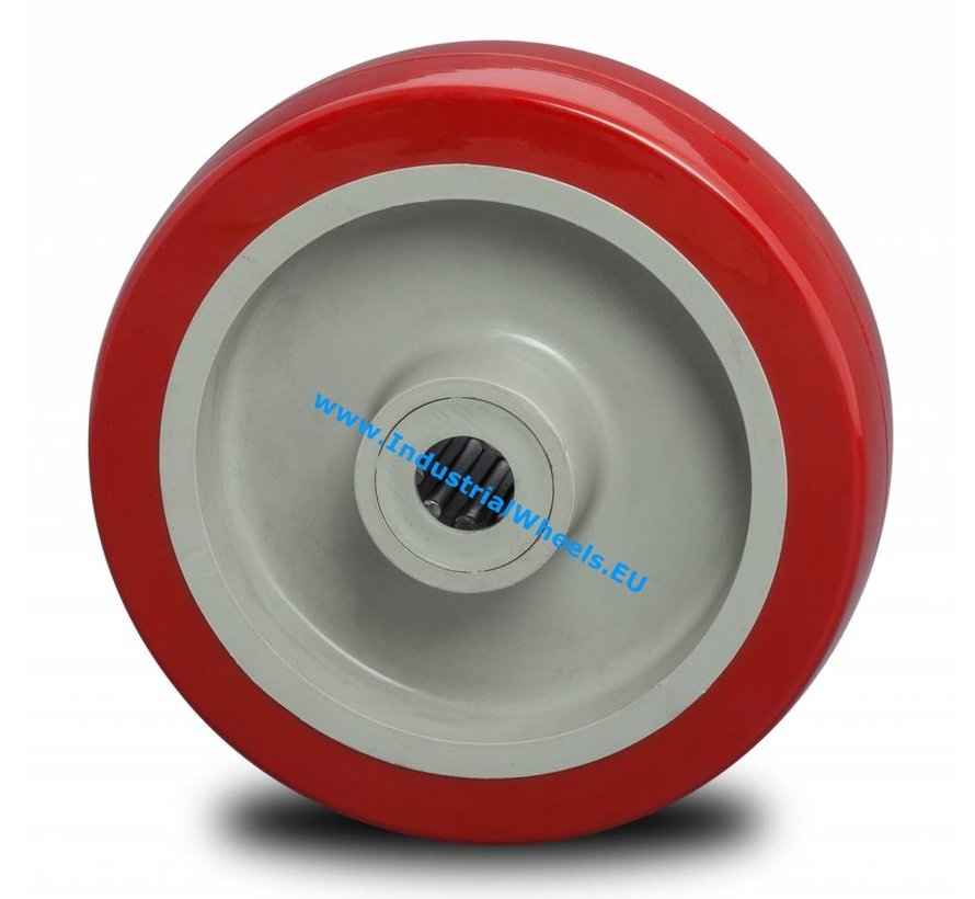 Industrial Wheel from Injected polyurethane, precision ball bearing, Wheel-Ø 125mm, 250KG