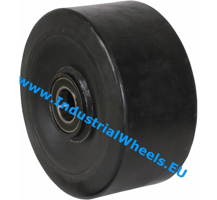 Heavy duty Wheel from Vulcanized elastic rubber tires, precision ball bearing, Wheel-Ø 200mm, 1200KG