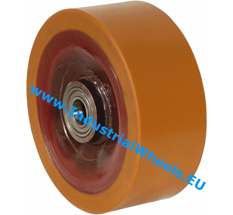 Heavy duty Wheel from Vulcanized Polyurethane tread, precision ball bearing, Wheel-Ø 250mm, 2500KG