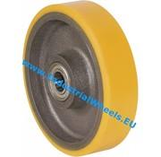 Hjul, Ø 250mm, Vulkaniseret Polyuretan, 1200KG