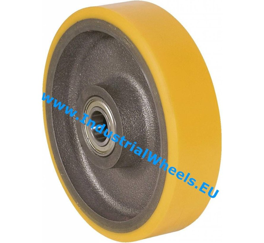 Heavy duty Wheel from Vulcanized Polyurethane tread, precision ball bearing, Wheel-Ø 250mm, 1400KG