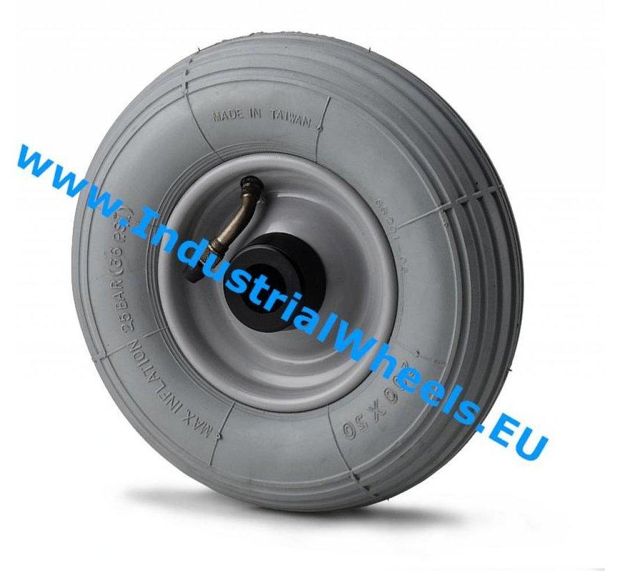 Carrelli per Movimentazione Industriale Ruota  gomma pneumatica profilo diritto, mozzo su cuscinetto a rulli, Ruota -Ø 210mm, 100KG
