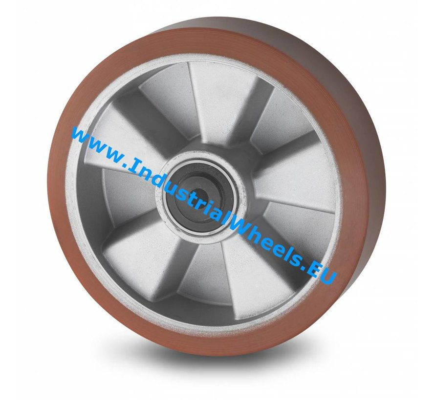 Industrial Wheel from Vulcanized Polyurethane tread, precision ball bearing, Wheel-Ø 160mm, 600KG