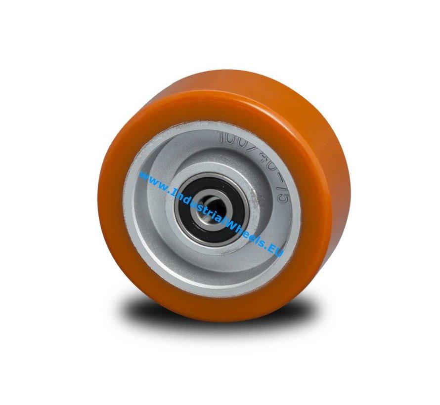 Zestawy kołowe transportowe Koło  lanego poliuretano wulkanizowanej, Precyzyjne łożysko kulkowe, Koło-Ø 100mm, 200KG