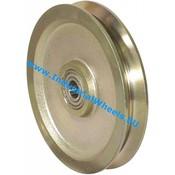 V groove wheel, Ø 125mm, Solid steel, 1000KG