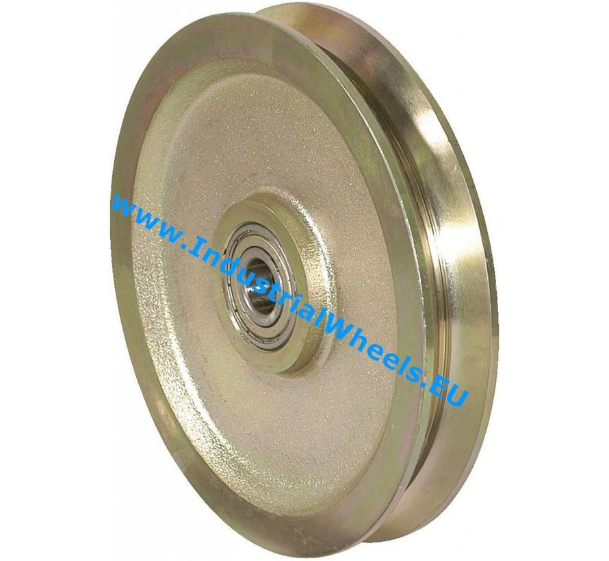 V-Groove and Flanged Wheels V groove wheel from Solid steel, precision ball bearing, Wheel-Ø 125mm, 1000KG