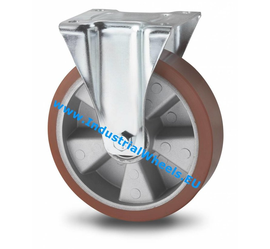 Industrial Fixed caster from pressed steel, plate fitting, Vulcanized Polyurethane tread, precision ball bearing, Wheel-Ø 200mm, 400KG