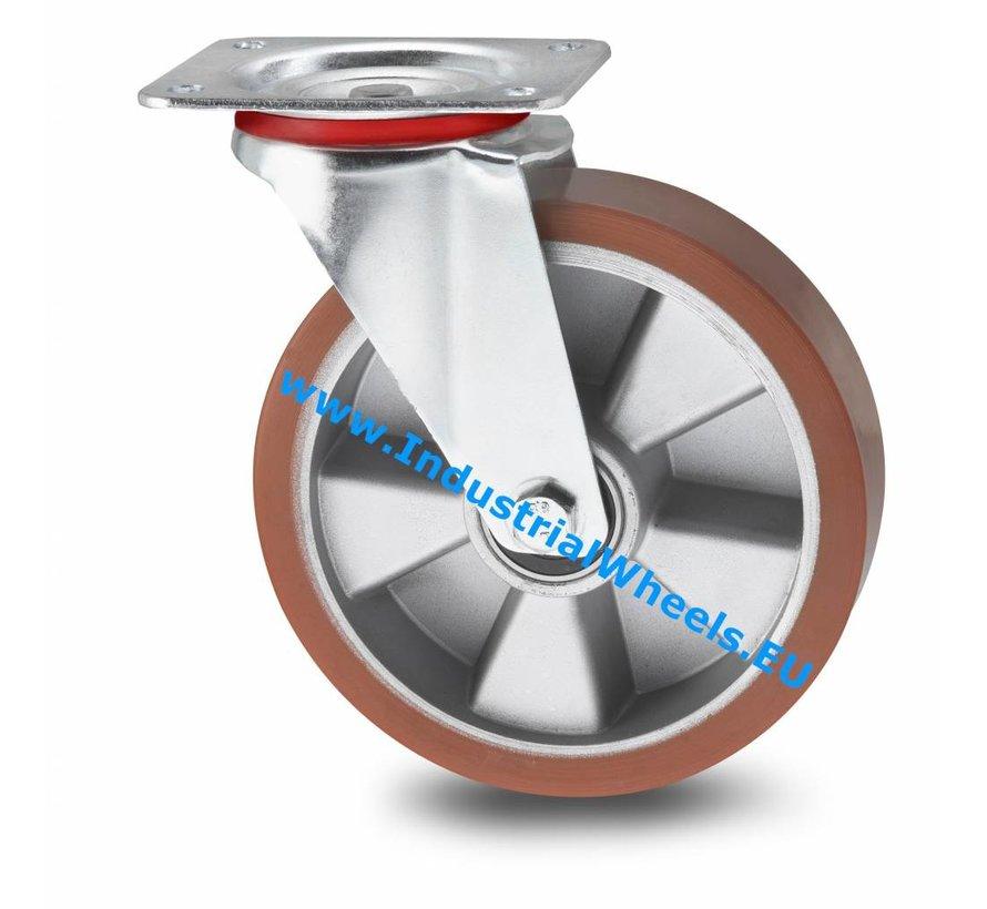 Transporthjul Drejeligt hjul Stål, Pladebefæstigelse, Vulkaniseret Polyuretan, DIN-kugleleje, Hjul-Ø 200mm, 400KG