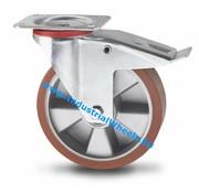 Roda giratória travão, Ø 160mm, poliuretano fundido, 300KG