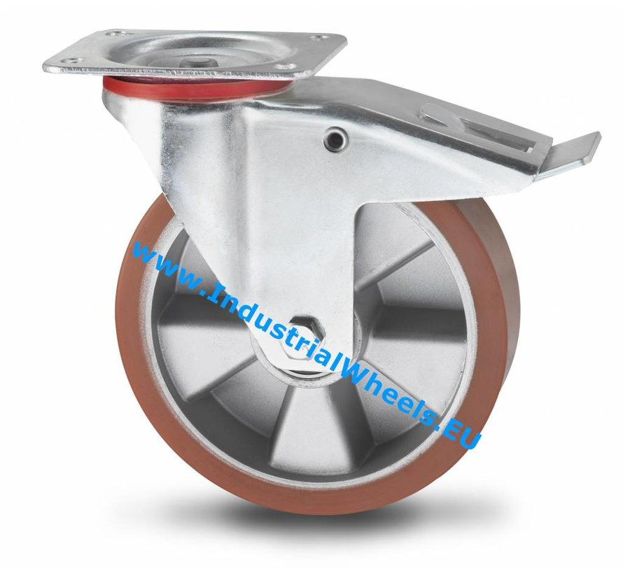Industrial Swivel caster with brake from pressed steel, plate fitting, Vulcanized Polyurethane tread, precision ball bearing, Wheel-Ø 200mm, 400KG