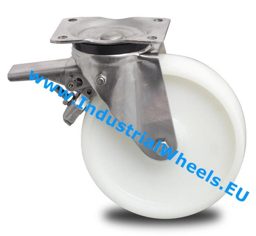 Stainless Steel Swivel caster with brake from Stainless Steel Pressed, plate fitting, Polyamide wheel, roller bearing Stainless Steel, Wheel-Ø 200mm, 500KG