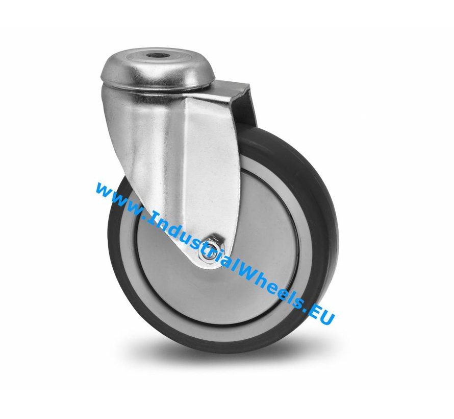 Institutional Swivel caster from pressed steel, bolt hole, thermoplastic rubber grey non-marking, precision ball bearing, Wheel-Ø 100mm, 100KG