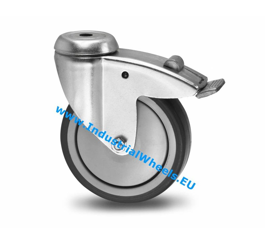 Institutional Swivel caster with brake from pressed steel, bolt hole, thermoplastic rubber grey non-marking, precision ball bearing, Wheel-Ø 100mm, 100KG