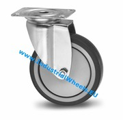 Swivel caster, Ø 100mm, thermoplastic rubber grey non-marking, 100KG