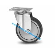 Drejeligt hjul, Ø 100mm, grå termoplastisk gummi afsmitningsfri, 100KG