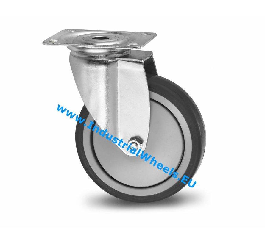 Roulettes pour collectivités Roulette pivotante de acier embouti, Fixation à platine, caoutchouc thermoplastique gris non tachant, roulements à billes de précision, Roue-Ø 100mm, 100KG