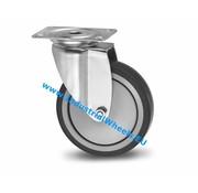 Lenkrolle, Ø 125mm, Thermoplastischer Gummi grau-spurlos, 100KG